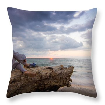 Enjoing The Sunset Throw Pillow by Aged Pixel
