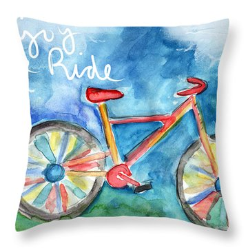 Enjoy The Ride- Colorful Bike Painting Throw Pillow