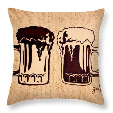 Enjoying Beer Throw Pillow