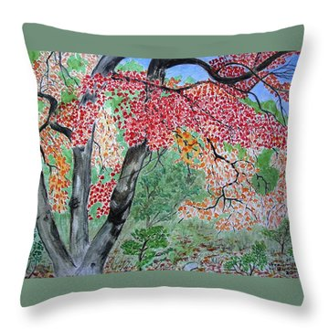 Enjoying Lost Maples Throw Pillow