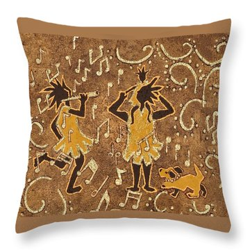 Enjoying The Music Throw Pillow by Katherine Young-Beck
