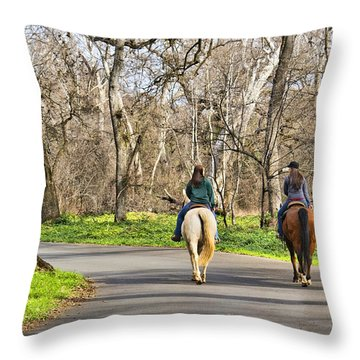 Enjoying The Scenery In Bidwell Park Throw Pillow