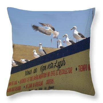 Ensenada Harbour And Fishmarket 40 Throw Pillow