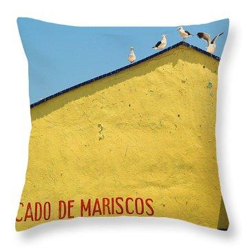 Ensenada Harbour Fish Market 33 Throw Pillow