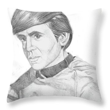 Throw Pillow featuring the drawing Ensign Pavel Chekov by Thomas J Herring