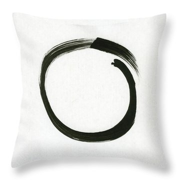 Enso #1 - Zen Circle Minimalistic Black And White Throw Pillow