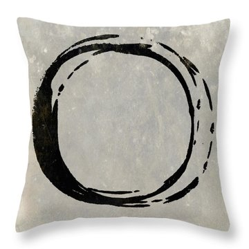 Enso No. 107 Black On Taupe Throw Pillow by Julie Niemela