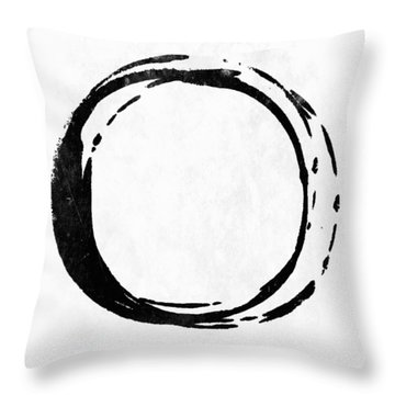 Enso No. 107 Black On White Throw Pillow