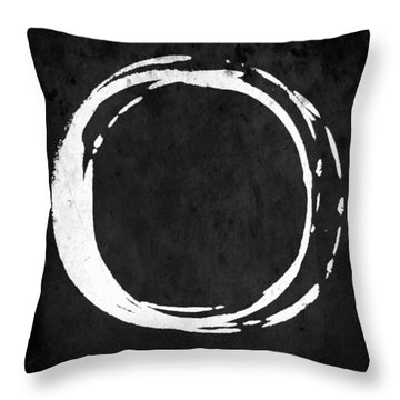 Enso No. 107 White On Black Throw Pillow