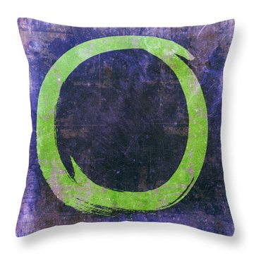Enso No. 108 Green On Purple Throw Pillow