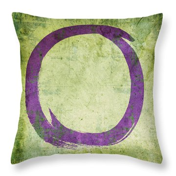 Enso No. 108 Purple On Green Throw Pillow