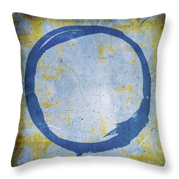 Enso No. 109 Blue On Blue Throw Pillow