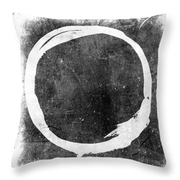 Enso No. 109 White On Black Throw Pillow