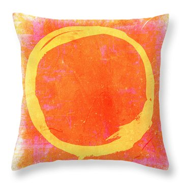 Enso No. 109 Yellow On Pink And Orange Throw Pillow