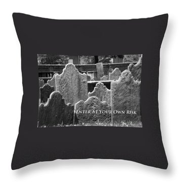 Enter At Your Own Risk Throw Pillow by Patrice Zinck