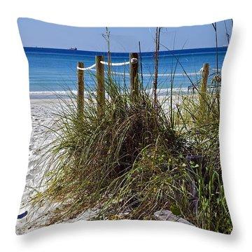 Enter The Beach Throw Pillow by Susan Leggett