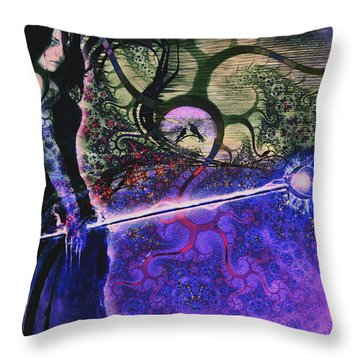 Entering In The Spirit Of The Night Throw Pillow by Linda Sannuti