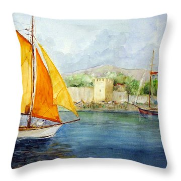 Entering The Port - Foca Izmir Throw Pillow