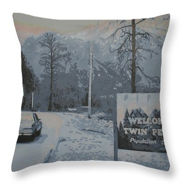 Throw Pillow featuring the painting Entering The Town Of Twin Peaks 5 Miles South Of The Canadian Border by Luis Ludzska