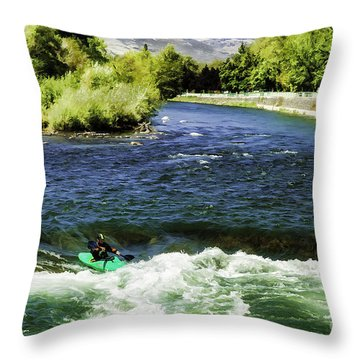 Entering The Whitewater-dp Throw Pillow