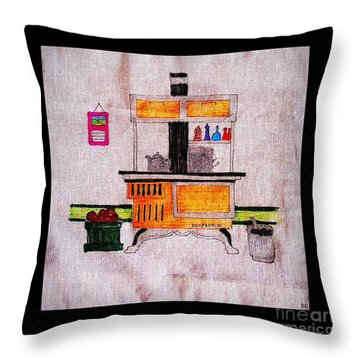 Enterprise Woodstove - Yellow Throw Pillow by Barbara Griffin