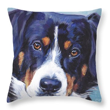 Entlebucher Mountain Dog Throw Pillow by Lee Ann Shepard
