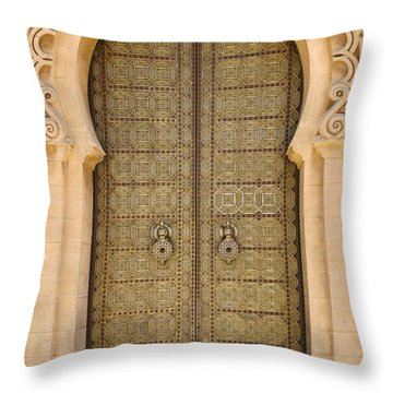 Entrance Door To The Mausoleum Mohammed V Rabat Morocco Throw Pillow