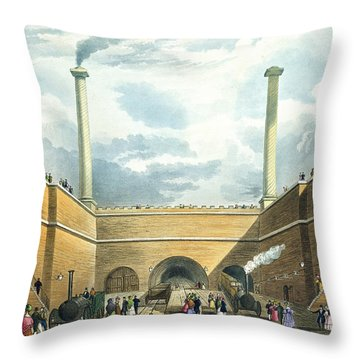 Entrance Of The Railway At Edge Hill Throw Pillow by Thomas Talbot Bury