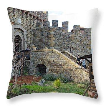 Entrance To Castello Di Amorosa In Napa Valley-ca Throw Pillow