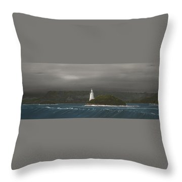 Throw Pillow featuring the painting Entrance To Macquarie Harbour - Tasmania by Tim Mullaney