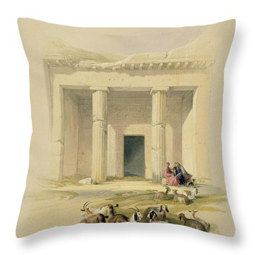Entrance To The Caves Of Bani Hasan Throw Pillow by David Roberts