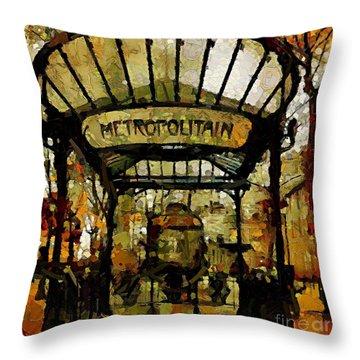 Entrance To The Paris Metro Throw Pillow