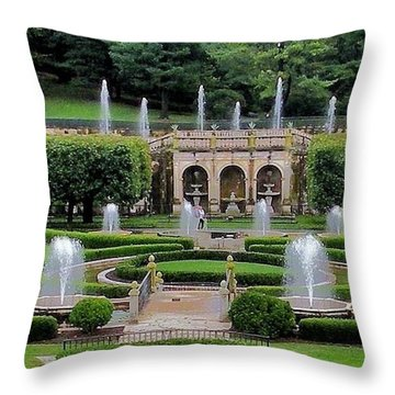 Entry Fountains At Longwood Gardens Throw Pillow by Kim Bemis