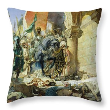 Entry Of The Turks Of Mohammed II Throw Pillow by Benjamin Constant