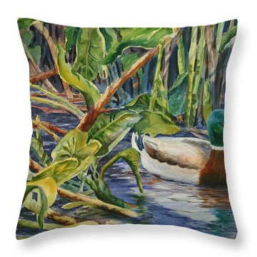 Environmentally Sound - Mallard Duck Throw Pillow by Roxanne Tobaison