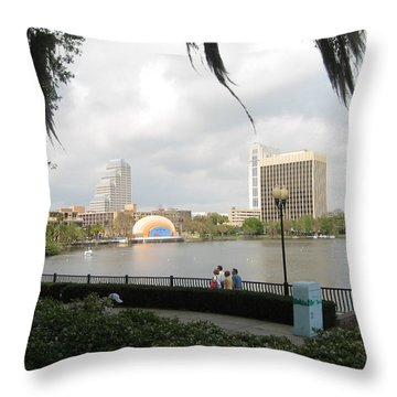 Eola Park In Orlando Throw Pillow by Judith Morris