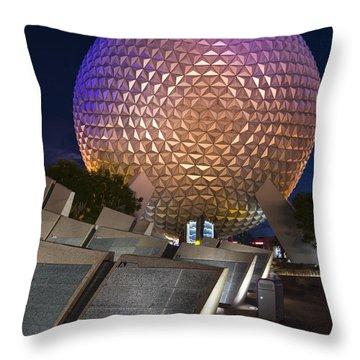 Epcot Spaceship Earth Throw Pillow by Adam Romanowicz