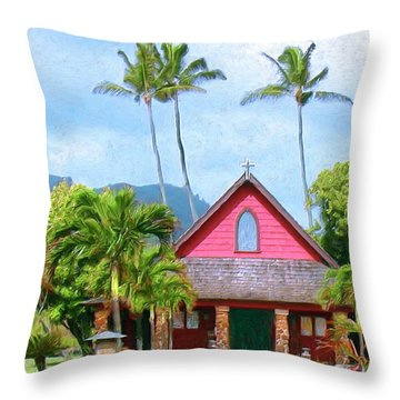 Episcopal Church In Kapaa Throw Pillow by Dominic Piperata