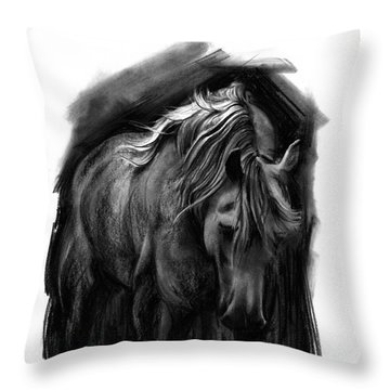 Throw Pillow featuring the drawing Equine 1 by Paul Davenport