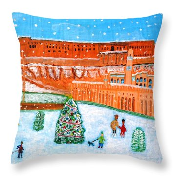 Throw Pillow featuring the painting Erbil Citadel Christmas  by Magdalena Frohnsdorff