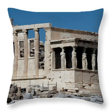Erechtheion With The Porch Of Maidens Throw Pillow by Lorraine Devon Wilke