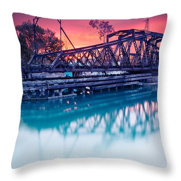 Erie Canal Swing Bridge Throw Pillow