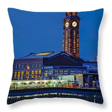 Erie Lackawanna Terminal Hoboken Throw Pillow by Susan Candelario