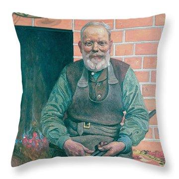 Erik Erikson The Blacksmith Throw Pillow by Carl Larsson