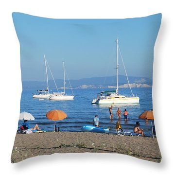 Erikousa Beach One Throw Pillow