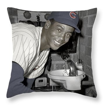 Ernie Banks At Cubs Water Fountain Throw Pillow by Martin Konopacki Restoration