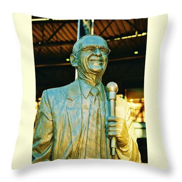Ernie Harwell Statue At The Copa Throw Pillow