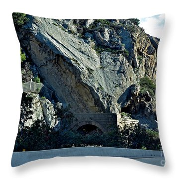 Throw Pillow featuring the photograph Eroding Hillside And Tunnel by Susan Wiedmann