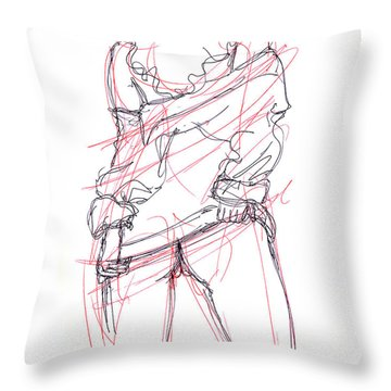 Erotic Art Drawings 6 Throw Pillow