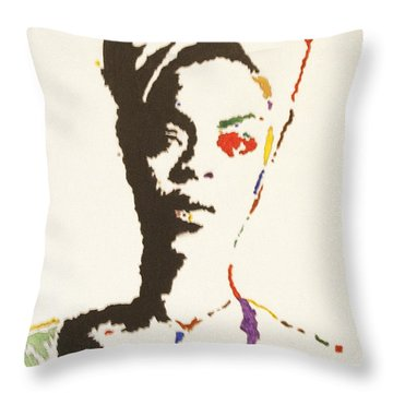 Throw Pillow featuring the painting Erykah Badu by Stormm Bradshaw